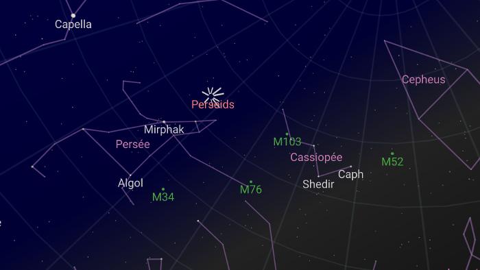 carte du ciel pour voir la nuit des étoiles filantes