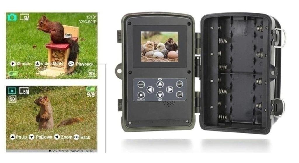image montrant l'écran LCD d'une caméra d'obszervation pour chasseurs